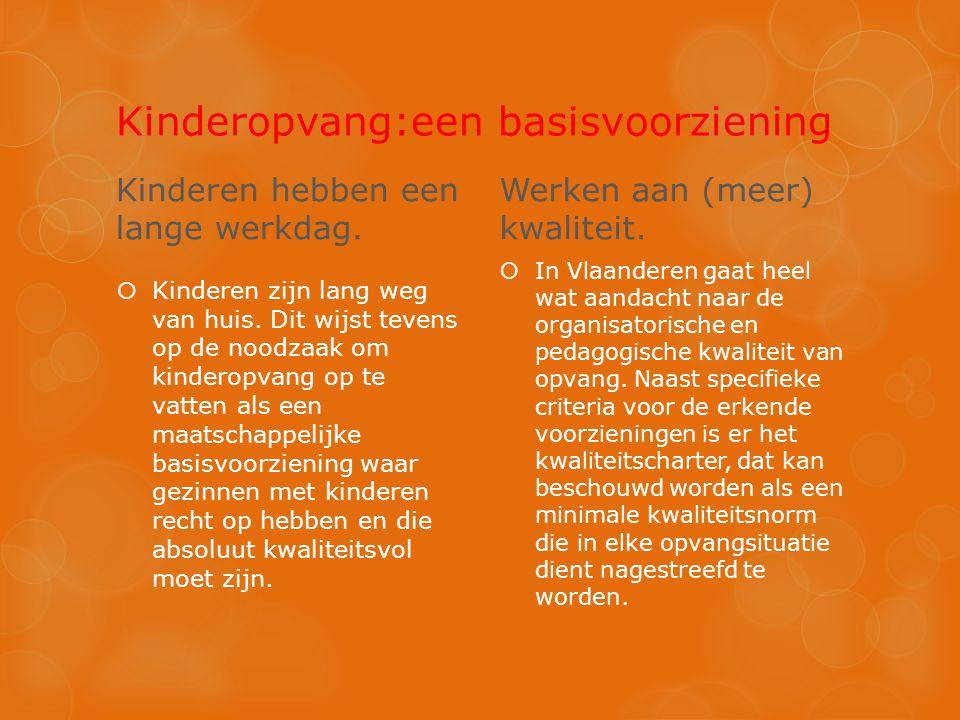 Kinderopvang:een basisvoorziening Kinderen hebben een lange werkdag.  Kinderen zijn lang weg van huis. Dit wijst tevens op de noodzaak om kinderopvan