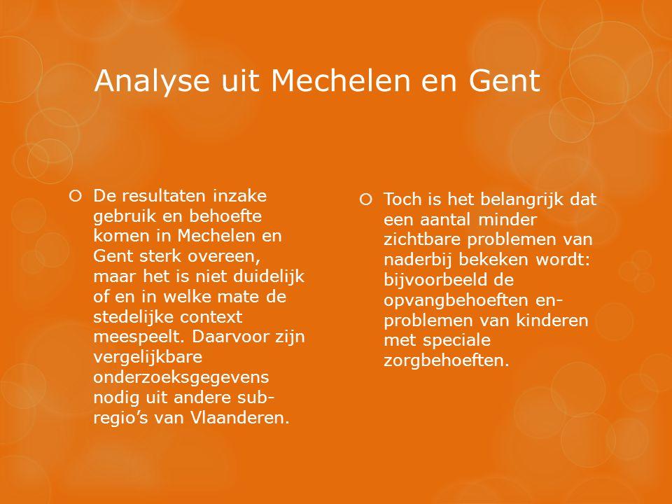 Analyse uit Mechelen en Gent  Toch is het belangrijk dat een aantal minder zichtbare problemen van naderbij bekeken wordt: bijvoorbeeld de opvangbehoeften en- problemen van kinderen met speciale zorgbehoeften.