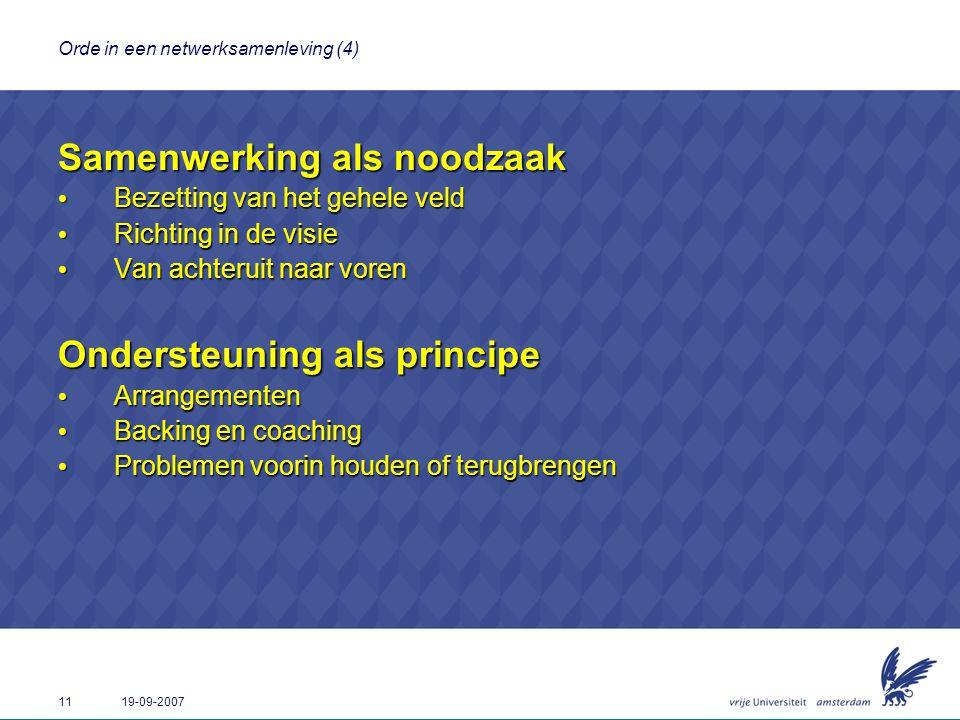 11 19-09-2007 Orde in een netwerksamenleving (4) Samenwerking als noodzaak Bezetting van het gehele veld Bezetting van het gehele veld Richting in de