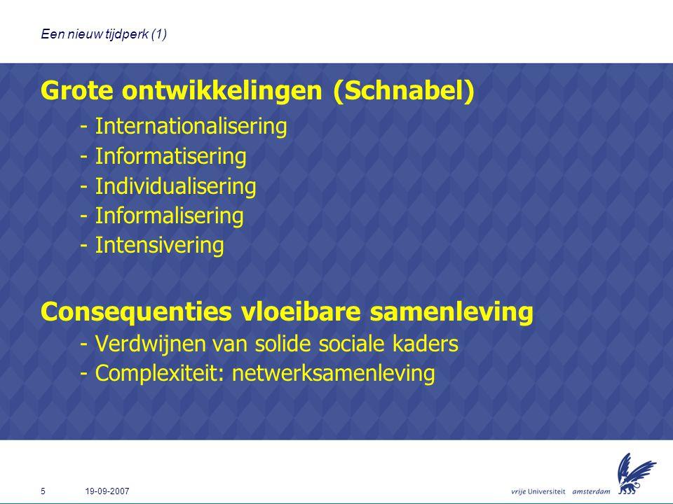 5 19-09-2007 Een nieuw tijdperk (1) Grote ontwikkelingen (Schnabel) - Internationalisering - Informatisering - Individualisering - Informalisering - I