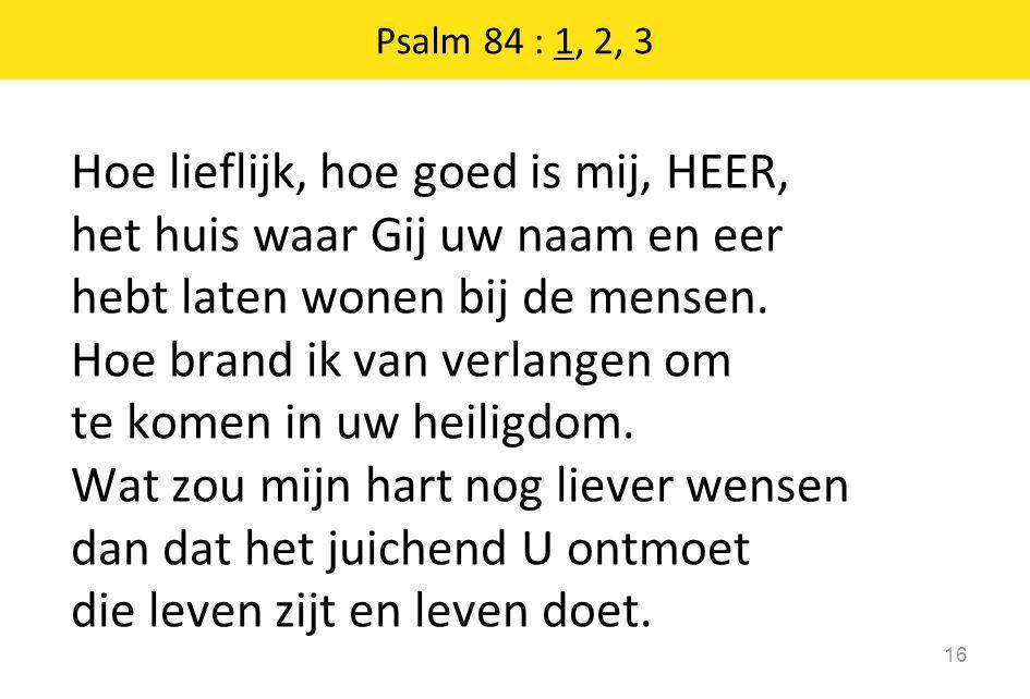 Psalm 84 : 1, 2, 3 16 Hoe lieflijk, hoe goed is mij, HEER, het huis waar Gij uw naam en eer hebt laten wonen bij de mensen. Hoe brand ik van verlangen