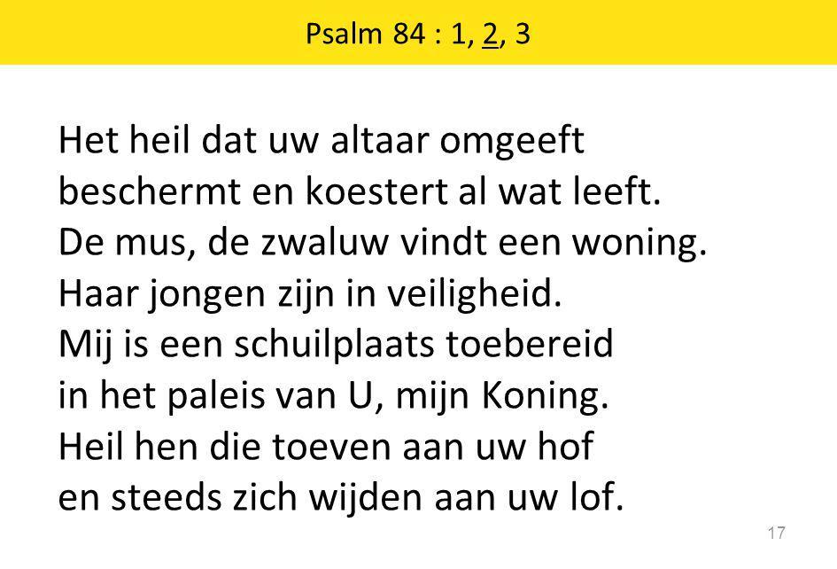Psalm 84 : 1, 2, 3 17 Het heil dat uw altaar omgeeft beschermt en koestert al wat leeft. De mus, de zwaluw vindt een woning. Haar jongen zijn in veili
