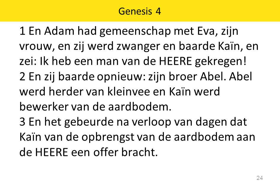 1 En Adam had gemeenschap met Eva, zijn vrouw, en zij werd zwanger en baarde Kaïn, en zei: Ik heb een man van de HEERE gekregen! 2 En zij baarde opnie
