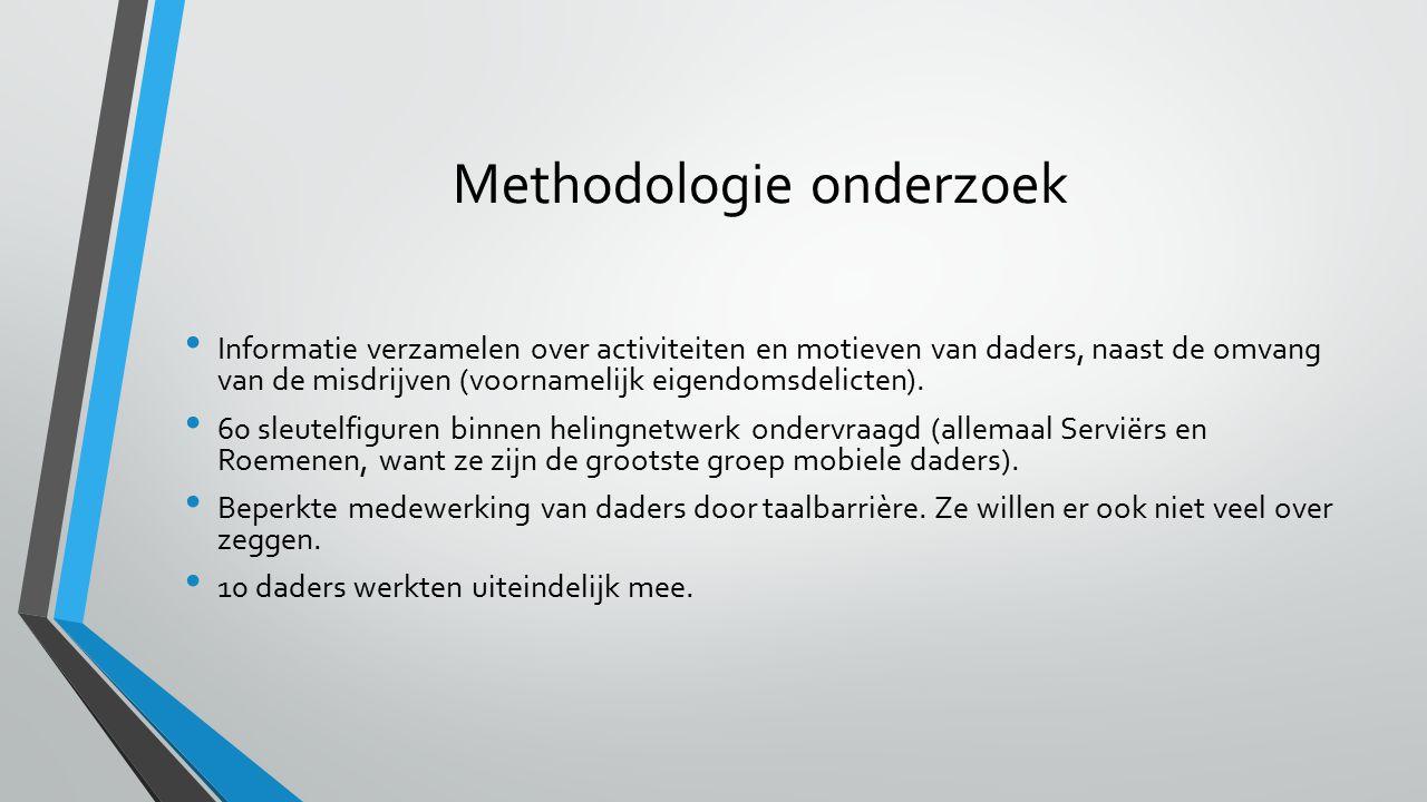 Methodologie onderzoek Informatie verzamelen over activiteiten en motieven van daders, naast de omvang van de misdrijven (voornamelijk eigendomsdelicten).
