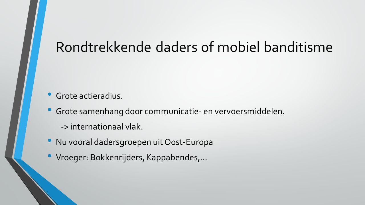 Rondtrekkende daders of mobiel banditisme Grote actieradius.