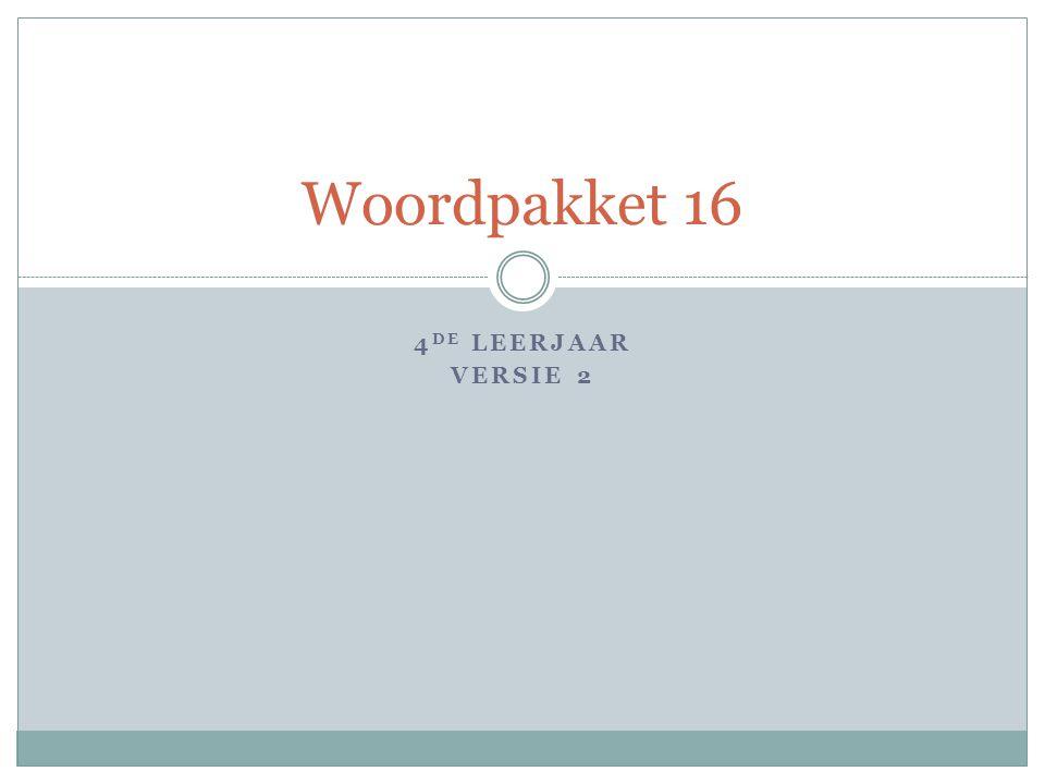 4 DE LEERJAAR VERSIE 2 Woordpakket 16