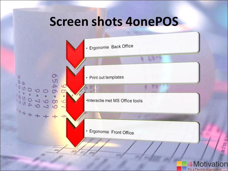 Screen shots 4onePOS