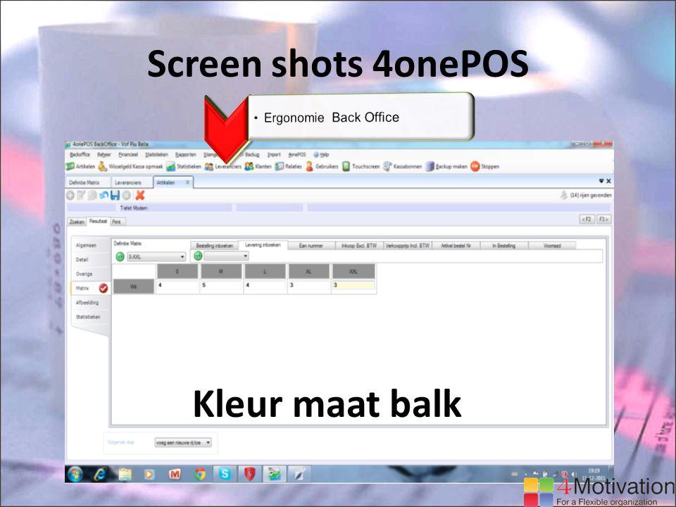Screen shots 4onePOS Kleur maat balk