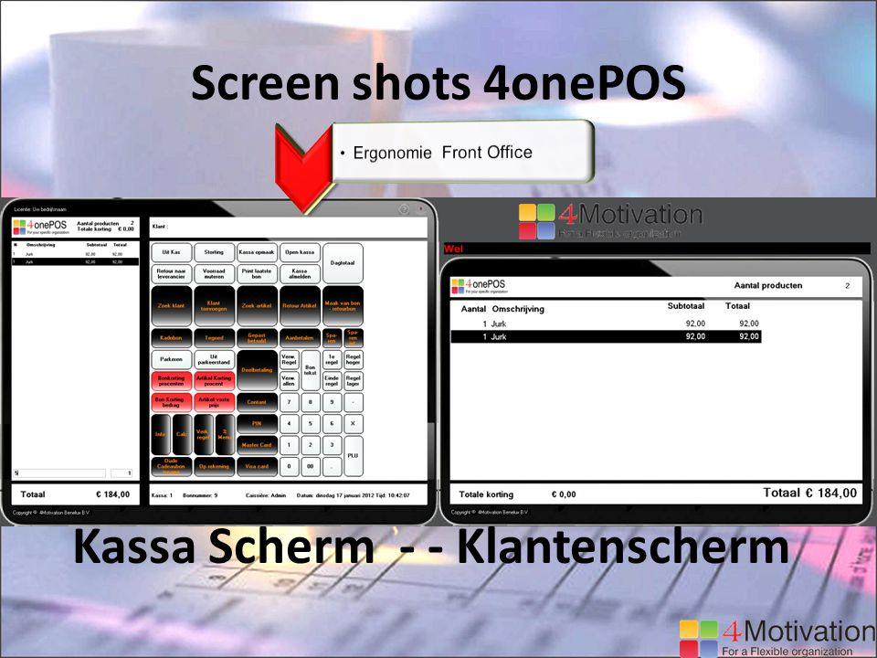 Screen shots 4onePOS Kassa Scherm - - Klantenscherm
