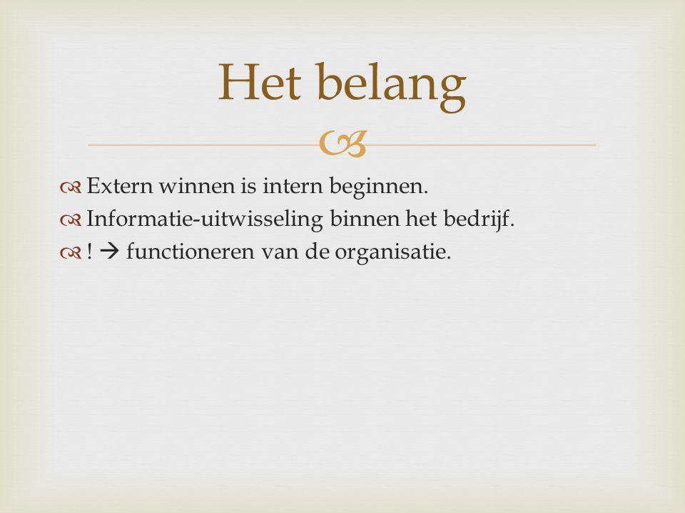   Extern winnen is intern beginnen. Informatie-uitwisseling binnen het bedrijf.