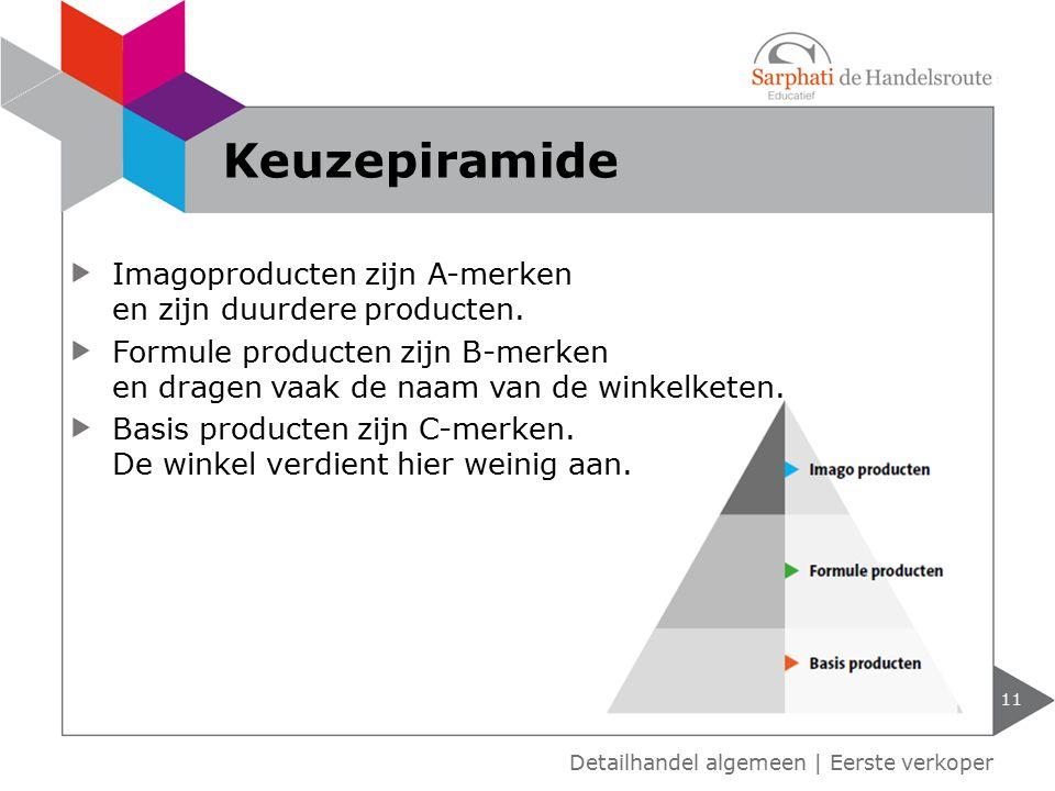 Imagoproducten zijn A-merken en zijn duurdere producten. Formule producten zijn B-merken en dragen vaak de naam van de winkelketen. Basis producten zi