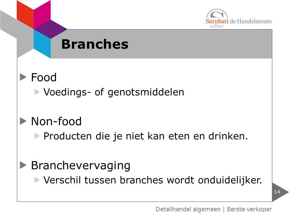Food Voedings- of genotsmiddelen Non-food Producten die je niet kan eten en drinken. Branchevervaging Verschil tussen branches wordt onduidelijker. 14