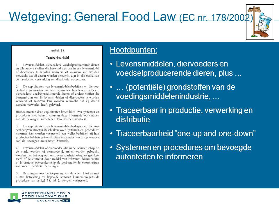 Wetgeving: General Food Law (EC nr. 178/2002) Hoofdpunten: Levensmiddelen, diervoeders en voedselproducerende dieren, plus... … (potentiële) grondstof