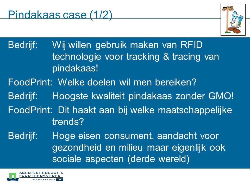 Pindakaas case (1/2) Bedrijf:Wij willen gebruik maken van RFID technologie voor tracking & tracing van pindakaas! FoodPrint:Welke doelen wil men berei