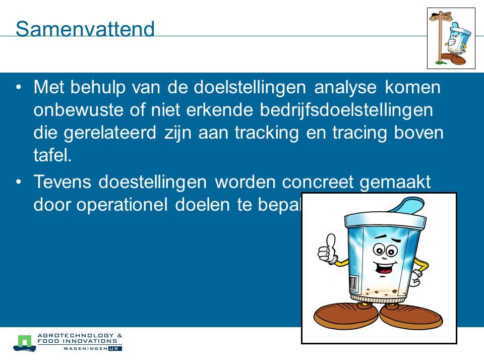 Samenvattend Met behulp van de doelstellingen analyse komen onbewuste of niet erkende bedrijfsdoelstellingen die gerelateerd zijn aan tracking en trac
