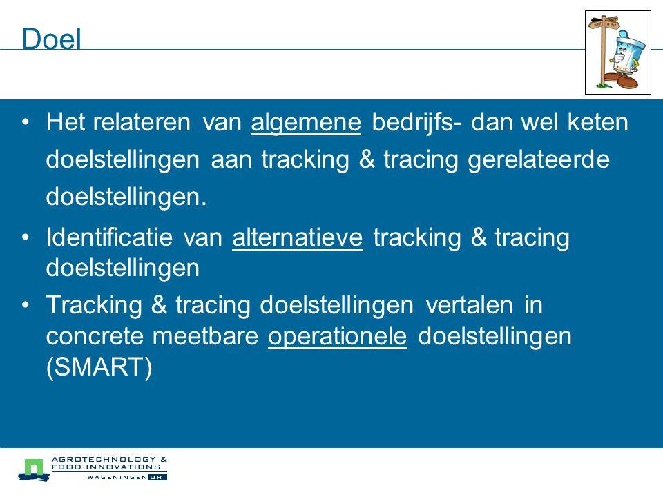 Doel Het relateren van algemene bedrijfs- dan wel keten doelstellingen aan tracking & tracing gerelateerde doelstellingen. Identificatie van alternati
