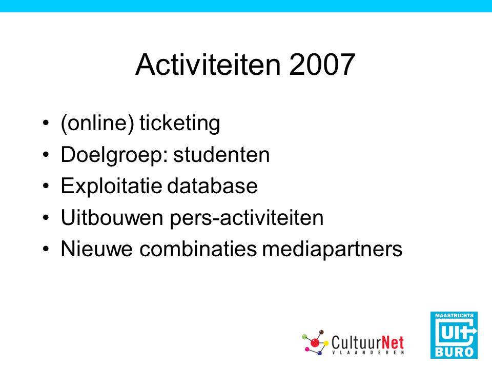 Activiteiten 2007 (online) ticketing Doelgroep: studenten Exploitatie database Uitbouwen pers-activiteiten Nieuwe combinaties mediapartners
