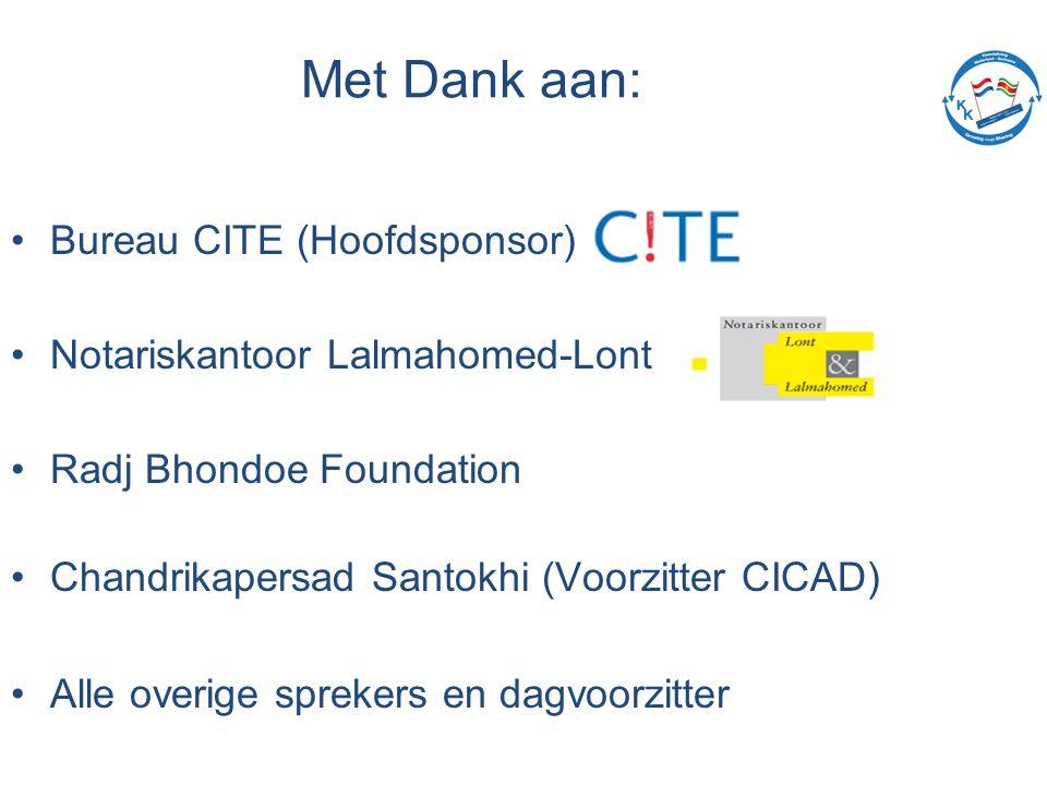 Met Dank aan: Bureau CITE (Hoofdsponsor) Notariskantoor Lalmahomed-Lont Radj Bhondoe Foundation Chandrikapersad Santokhi (Voorzitter CICAD) Alle overige sprekers en dagvoorzitter