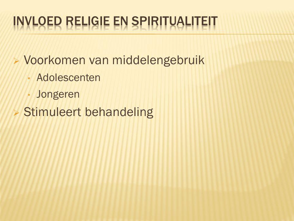  Invloed religie en spiritualiteit  Opvatting binnen religies  Beïnvloeden wetgeving  Preventie campagne  Wetenschap vs. Religie  Therapie  Na