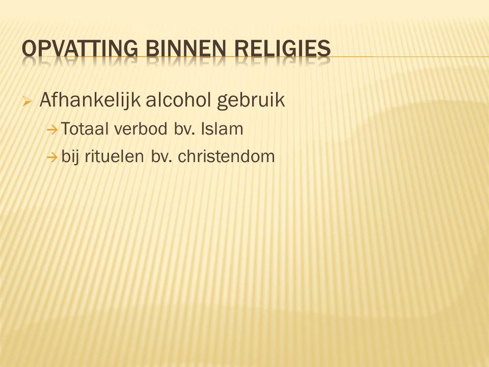  Afhankelijk alcohol gebruik  Totaal verbod bv. Islam  bij rituelen bv. christendom