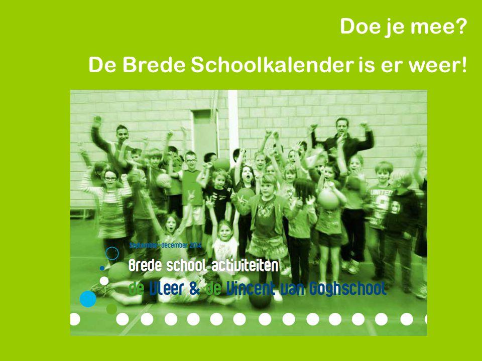 Doe je mee? De Brede Schoolkalender is er weer!