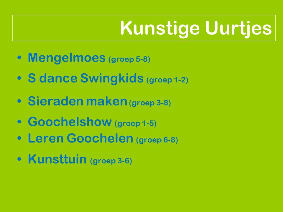 Mengelmoes (groep 5-8) S dance Swingkids (groep 1-2) Sieraden maken (groep 3-8) Goochelshow (groep 1-5) Leren Goochelen (groep 6-8) Kunsttuin (groep 3