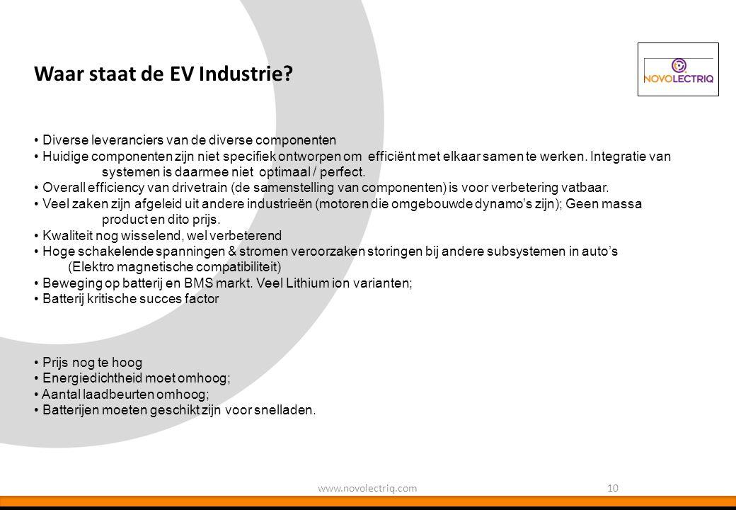 Waar staat de EV Industrie? 10www.novolectriq.com Diverse leveranciers van de diverse componenten Huidige componenten zijn niet specifiek ontworpen om