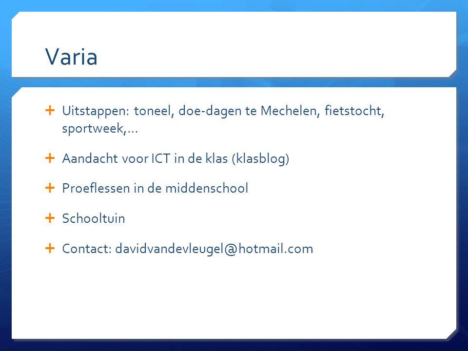 Varia  Uitstappen: toneel, doe-dagen te Mechelen, fietstocht, sportweek,…  Aandacht voor ICT in de klas (klasblog)  Proeflessen in de middenschool  Schooltuin  Contact: davidvandevleugel@hotmail.com