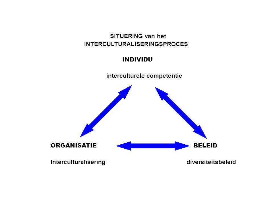 SITUERING van het INTERCULTURALISERINGSPROCES INDIVIDU interculturele competentie ORGANISATIE BELEID Interculturaliseringdiversiteitsbeleid