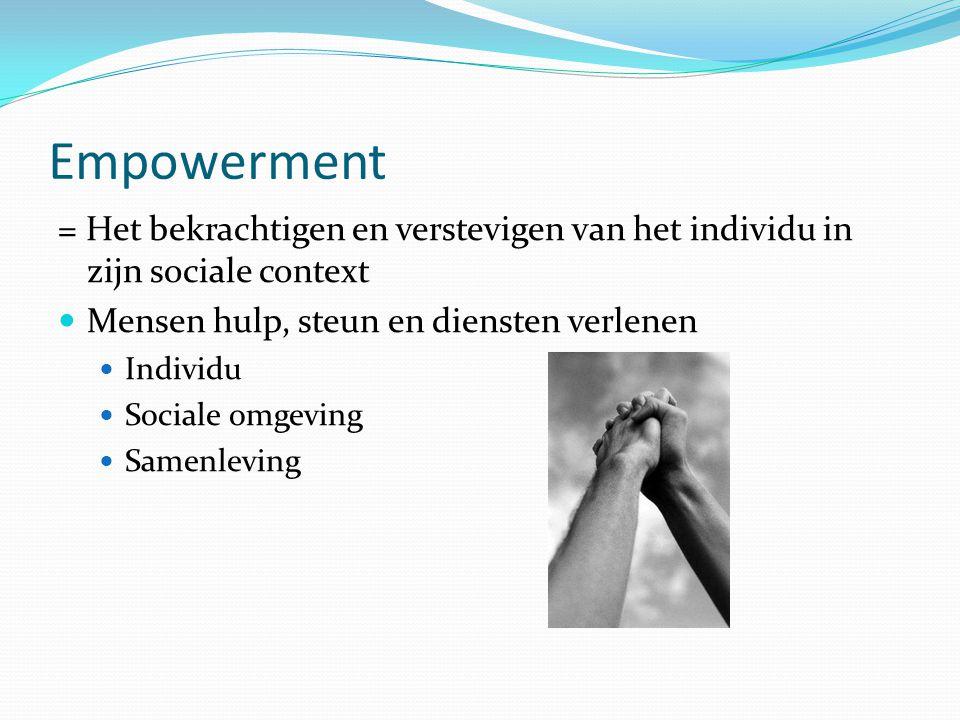 Empowerment 3 dimensies: Persoonlijke dimensie Sociaalculturele dimensie Politieke dimensie Essentieel voor empowerment: Cliënten krijgen macht over hulpverleningsingrediënten