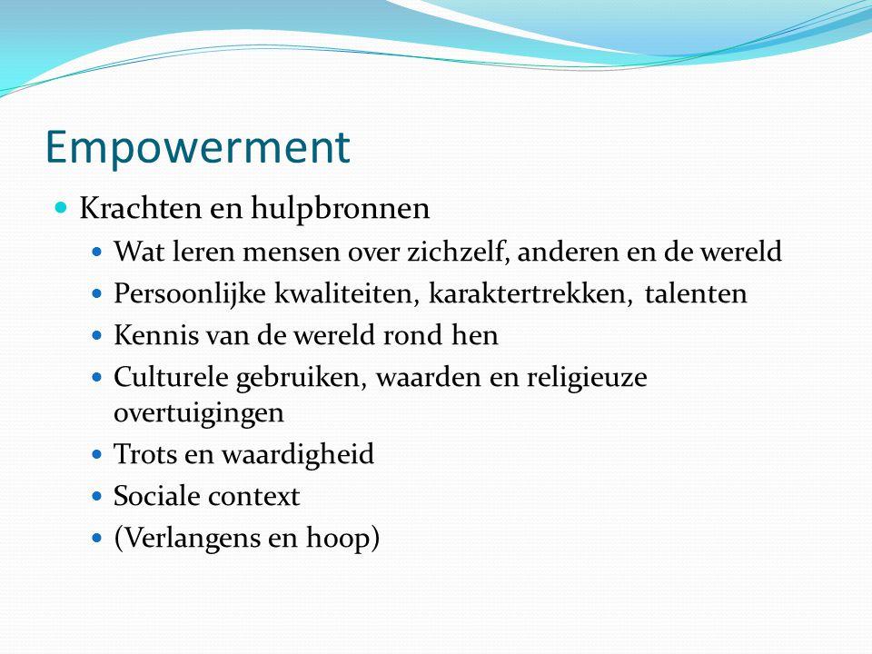 Empowerment Houding van de hulpverlener: Respectvol: gelijkwaardigheid en volwaardigheid Vraaggericht ordening aanbrengen Respecteren en accepteren van de cliënt Proces actief sturen