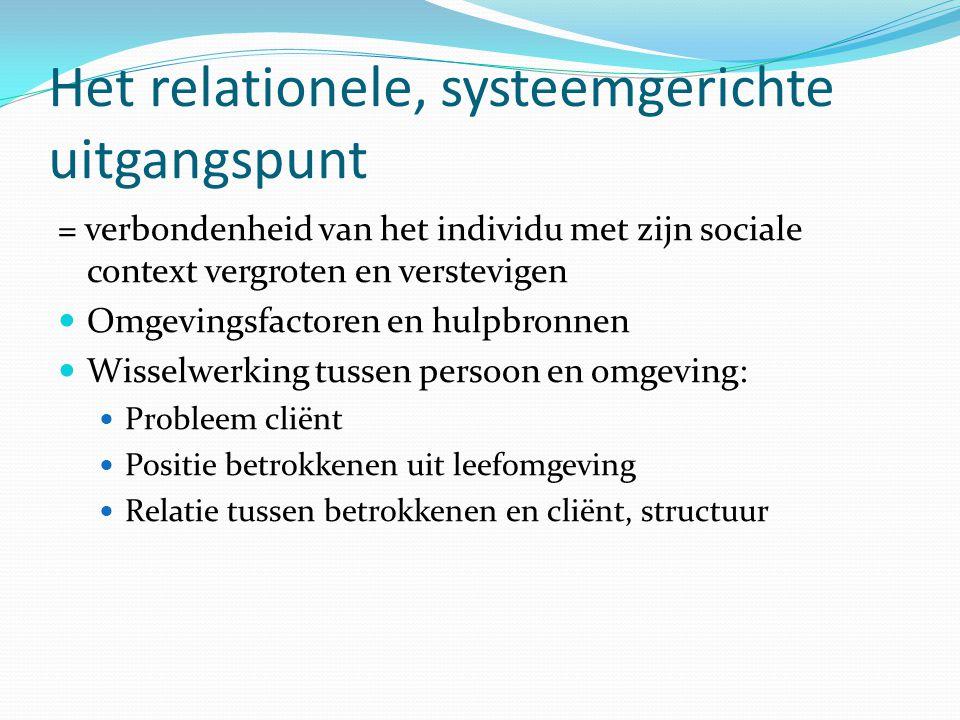 Het relationele, systeemgerichte uitgangspunt Zelf, de ander en samen Verantwoordelijkheid voor jezelf Medeverantwoordelijkheid voor de ander Medeverantwoordelijkheid voor de relatie Individueel probleem = gezamenlijk probleem
