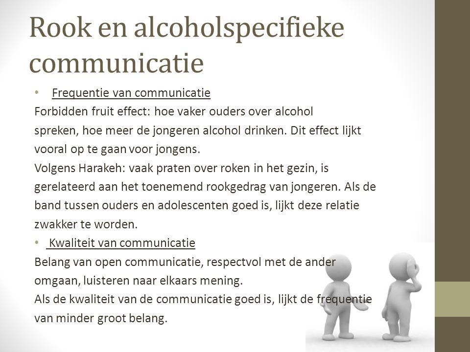 Rook en alcoholspecifieke communicatie Frequentie van communicatie Forbidden fruit effect: hoe vaker ouders over alcohol spreken, hoe meer de jongeren