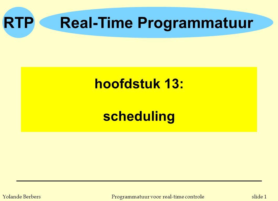 slide 1Programmatuur voor real-time controleYolande Berbers RTPReal-Time Programmatuur hoofdstuk 13: scheduling