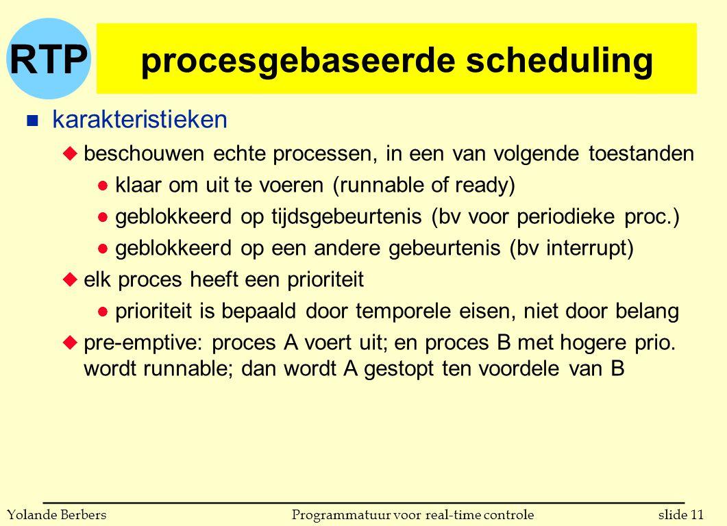 RTP slide 11Programmatuur voor real-time controleYolande Berbers procesgebaseerde scheduling n karakteristieken u beschouwen echte processen, in een van volgende toestanden l klaar om uit te voeren (runnable of ready) l geblokkeerd op tijdsgebeurtenis (bv voor periodieke proc.) l geblokkeerd op een andere gebeurtenis (bv interrupt) u elk proces heeft een prioriteit l prioriteit is bepaald door temporele eisen, niet door belang u pre-emptive: proces A voert uit; en proces B met hogere prio.