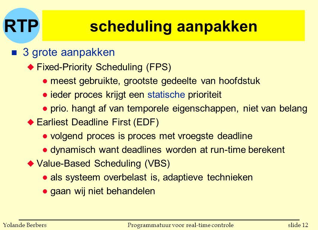RTP slide 12Programmatuur voor real-time controleYolande Berbers scheduling aanpakken n 3 grote aanpakken u Fixed-Priority Scheduling (FPS) l meest gebruikte, grootste gedeelte van hoofdstuk l ieder proces krijgt een statische prioriteit l prio.