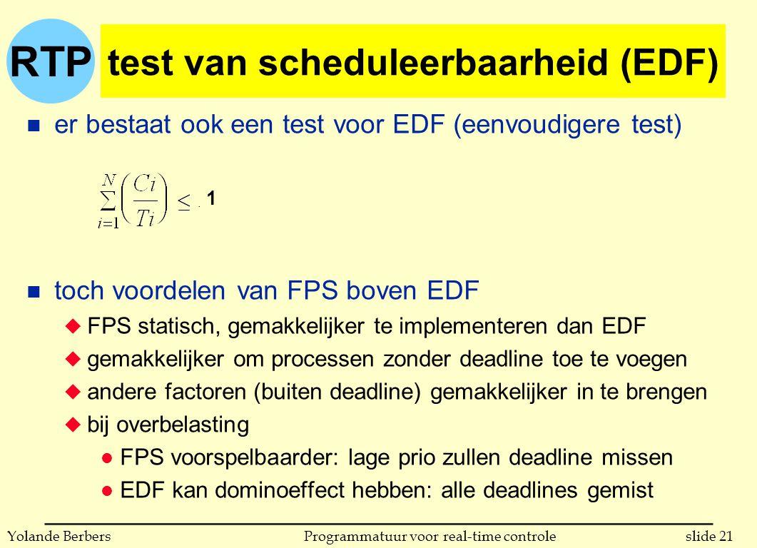 RTP slide 21Programmatuur voor real-time controleYolande Berbers test van scheduleerbaarheid (EDF) n er bestaat ook een test voor EDF (eenvoudigere test) n toch voordelen van FPS boven EDF u FPS statisch, gemakkelijker te implementeren dan EDF u gemakkelijker om processen zonder deadline toe te voegen u andere factoren (buiten deadline) gemakkelijker in te brengen u bij overbelasting l FPS voorspelbaarder: lage prio zullen deadline missen l EDF kan dominoeffect hebben: alle deadlines gemist 1