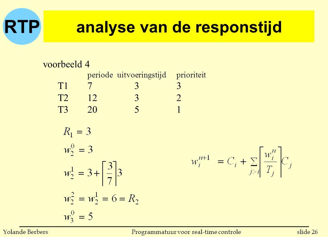 RTP slide 26Programmatuur voor real-time controleYolande Berbers analyse van de responstijd voorbeeld 4 periodeuitvoeringstijdprioriteit T17 33 T212 32 T320 51