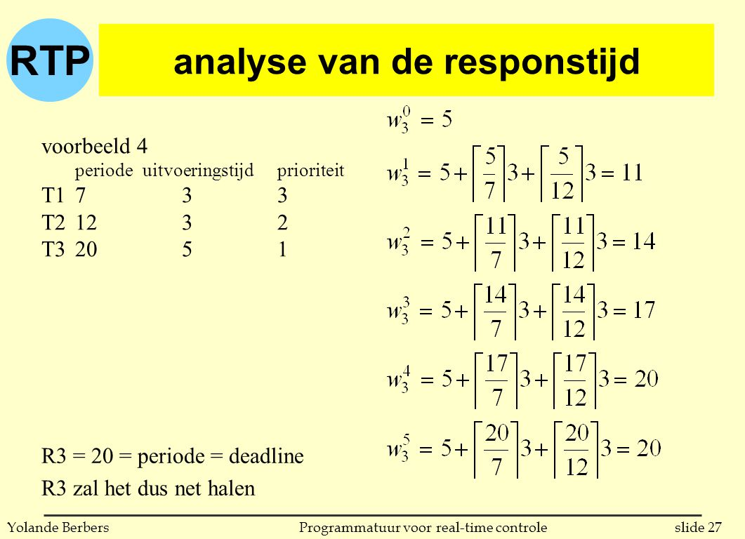 RTP slide 27Programmatuur voor real-time controleYolande Berbers analyse van de responstijd voorbeeld 4 periodeuitvoeringstijdprioriteit T17 33 T212 32 T320 51 R3 = 20 = periode = deadline R3 zal het dus net halen