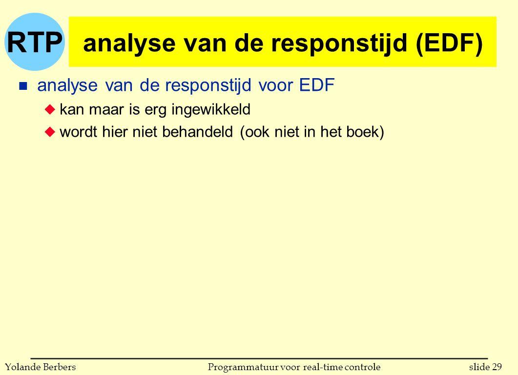 RTP slide 29Programmatuur voor real-time controleYolande Berbers analyse van de responstijd (EDF) n analyse van de responstijd voor EDF u kan maar is erg ingewikkeld u wordt hier niet behandeld (ook niet in het boek)