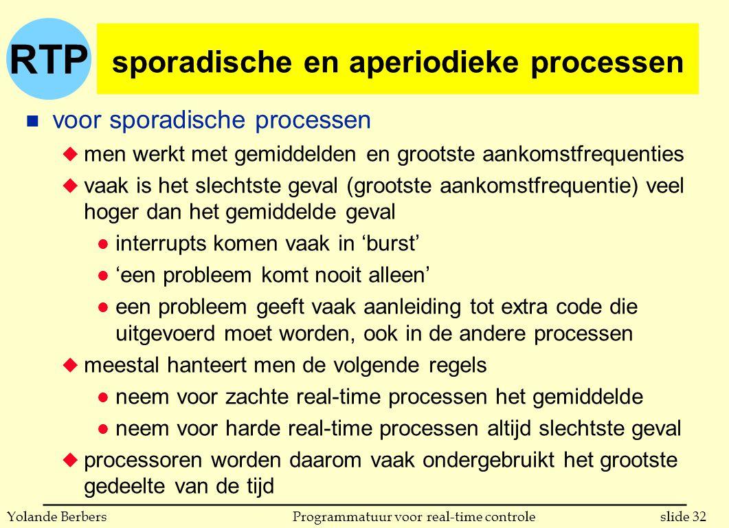 RTP slide 32Programmatuur voor real-time controleYolande Berbers sporadische en aperiodieke processen n voor sporadische processen u men werkt met gemiddelden en grootste aankomstfrequenties u vaak is het slechtste geval (grootste aankomstfrequentie) veel hoger dan het gemiddelde geval l interrupts komen vaak in 'burst' l 'een probleem komt nooit alleen' l een probleem geeft vaak aanleiding tot extra code die uitgevoerd moet worden, ook in de andere processen u meestal hanteert men de volgende regels l neem voor zachte real-time processen het gemiddelde l neem voor harde real-time processen altijd slechtste geval u processoren worden daarom vaak ondergebruikt het grootste gedeelte van de tijd