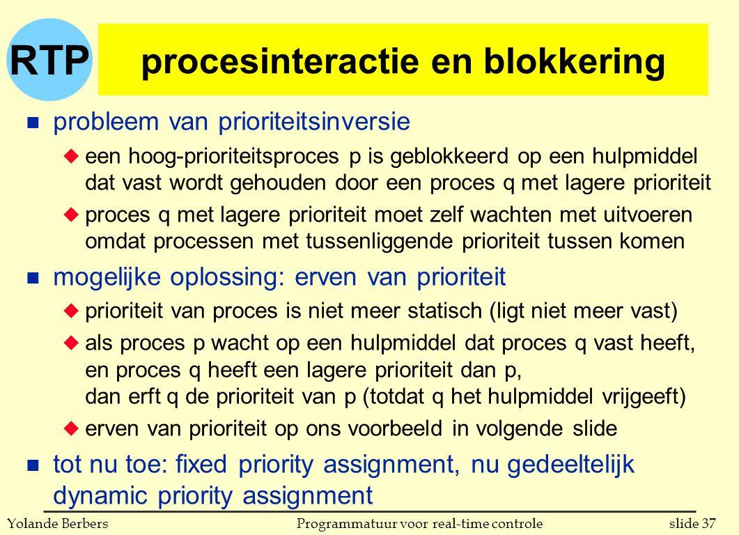 RTP slide 37Programmatuur voor real-time controleYolande Berbers procesinteractie en blokkering n probleem van prioriteitsinversie u een hoog-prioriteitsproces p is geblokkeerd op een hulpmiddel dat vast wordt gehouden door een proces q met lagere prioriteit u proces q met lagere prioriteit moet zelf wachten met uitvoeren omdat processen met tussenliggende prioriteit tussen komen n mogelijke oplossing: erven van prioriteit u prioriteit van proces is niet meer statisch (ligt niet meer vast) u als proces p wacht op een hulpmiddel dat proces q vast heeft, en proces q heeft een lagere prioriteit dan p, dan erft q de prioriteit van p (totdat q het hulpmiddel vrijgeeft) u erven van prioriteit op ons voorbeeld in volgende slide n tot nu toe: fixed priority assignment, nu gedeeltelijk dynamic priority assignment