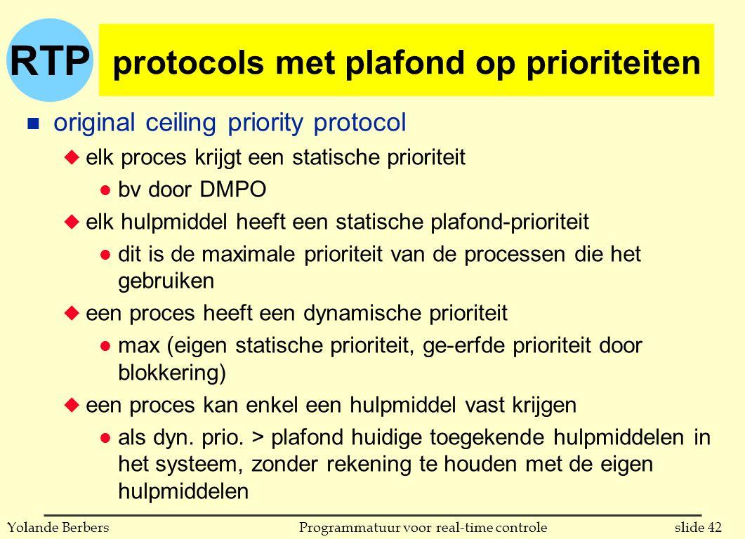 RTP slide 42Programmatuur voor real-time controleYolande Berbers protocols met plafond op prioriteiten n original ceiling priority protocol u elk proces krijgt een statische prioriteit l bv door DMPO u elk hulpmiddel heeft een statische plafond-prioriteit l dit is de maximale prioriteit van de processen die het gebruiken u een proces heeft een dynamische prioriteit l max (eigen statische prioriteit, ge-erfde prioriteit door blokkering) u een proces kan enkel een hulpmiddel vast krijgen l als dyn.