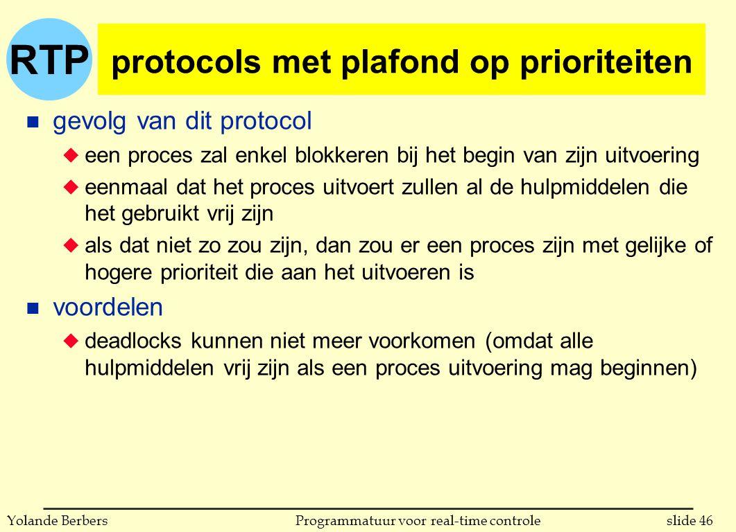 RTP slide 46Programmatuur voor real-time controleYolande Berbers protocols met plafond op prioriteiten n gevolg van dit protocol u een proces zal enkel blokkeren bij het begin van zijn uitvoering u eenmaal dat het proces uitvoert zullen al de hulpmiddelen die het gebruikt vrij zijn u als dat niet zo zou zijn, dan zou er een proces zijn met gelijke of hogere prioriteit die aan het uitvoeren is n voordelen u deadlocks kunnen niet meer voorkomen (omdat alle hulpmiddelen vrij zijn als een proces uitvoering mag beginnen)