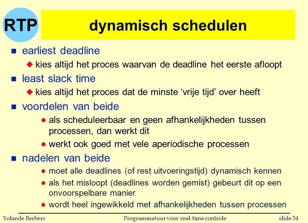 RTP slide 54Programmatuur voor real-time controleYolande Berbers dynamisch schedulen n earliest deadline u kies altijd het proces waarvan de deadline het eerste afloopt n least slack time u kies altijd het proces dat de minste 'vrije tijd' over heeft n voordelen van beide l als scheduleerbaar en geen afhankelijkheden tussen processen, dan werkt dit l werkt ook goed met vele aperiodische processen n nadelen van beide l moet alle deadlines (of rest uitvoeringstijd) dynamisch kennen l als het misloopt (deadlines worden gemist) gebeurt dit op een onvoorspelbare manier l wordt heel ingewikkeld met afhankelijkheden tussen processen