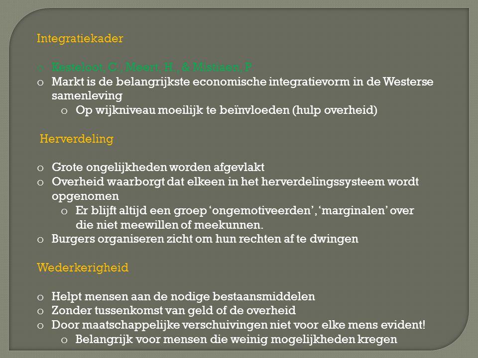 Integratiekader o Kesteloot, C., Meert, H., & Mistiaen, P o Markt is de belangrijkste economische integratievorm in de Westerse samenleving o Op wijkniveau moeilijk te beïnvloeden (hulp overheid) Herverdeling o Grote ongelijkheden worden afgevlakt o Overheid waarborgt dat elkeen in het herverdelingssysteem wordt opgenomen o Er blijft altijd een groep 'ongemotiveerden', 'marginalen' over die niet meewillen of meekunnen.