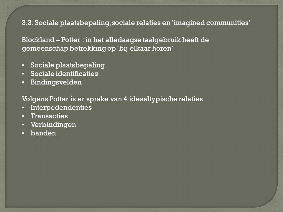 3.3. Sociale plaatsbepaling, sociale relaties en 'imagined communities' Blockland – Potter : in het alledaagse taalgebruik heeft de gemeenschap betrek