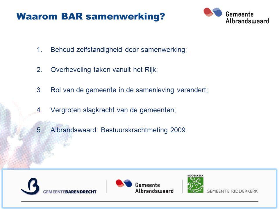 Proces van de BAR samenwerking Bestuurlijk proces (drie gemeenteraden) 2008/2009Koersdocument BAR-goed; Maart 2012Koersdocument BAR-beter; Oktober 2012BAR-code.