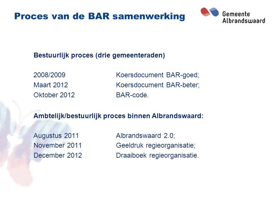 BAR samenwerking 3 zelfstandige gemeenten; Iedere gemeente heeft een regieteam; Er is één uitvoeringsorganisatie;.
