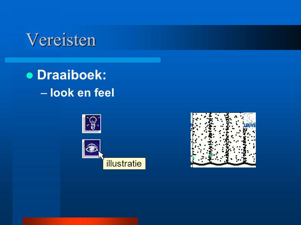 Draaiboek: –look en feel tip Vereisten